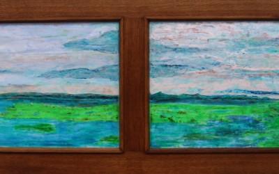 Grüner Sand, 174 x 54,50 cm, Öl auf Holz