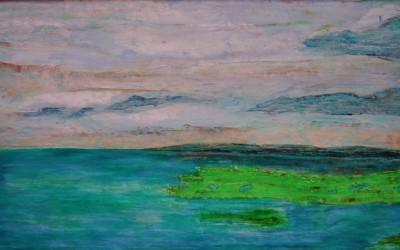 Grüner Sand / linke Seite, 174 x 54,50 cm, Öl auf Holz
