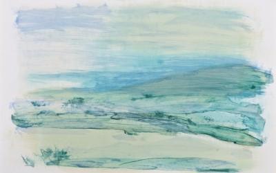 Grüner Sand II, 2012, 84,10 x 59,40 cm, Mischtechnik auf Papier