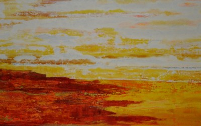 Rotes Kliff, 280 x 120 cm, Öl auf Leinwand
